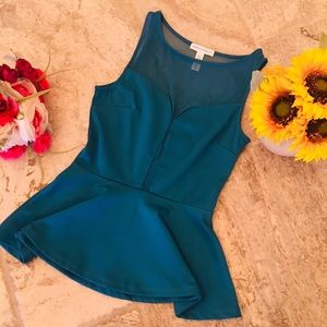 Blue/Teal Ruffle Bottom Party Top w/Mesh Plunge